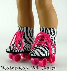 ZEBRA-PRINT-ROLLER-SKATES-SKATING-SHOES-Fits-18-American-Girl-Doll-Accessories