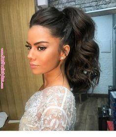 Beautiful ponytail with curls | Inspiring Ladies | Coafuri      Beautiful ponytail with curls | Inspiring Ladies | Coafuri Wedding Makeup, Bridal Hair And Makeup, Hair Makeup, Pretty Hairstyles, Ponytail Hairstyles, Messy Hairstyles, Hair Inspo, Hair Inspiration, Hair Day