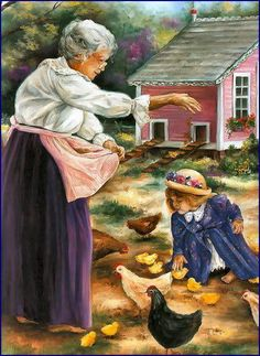 Grandma Feeding The Chickens
