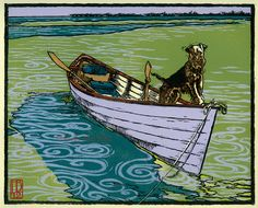 """""""Permission To Come Ashore? oil-based inks on Rives B. 9 x 7 2012 Holly Bird Art And Illustration, Wire Fox Terrier, Welsh Terrier, Block Prints, Art Prints, Dog Paintings, Art Graphique, Wood Engraving, Dog Portraits"""