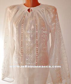 Ie brodata pe panza topita de vanzare - Romanian Blouse Shop Embroidery Patterns, Cross Stitch Patterns, Folk Fashion, Womens Fashion, Drawn Thread, Bridal Dresses, Designer Dresses, Fashion Beauty, Sewing