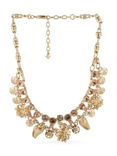 We love this antique peach white opal crystals necklace with sealife features!