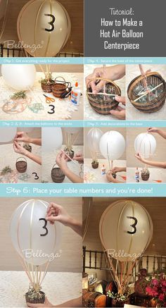 Hot air balloon centerpiece tutorial could put a baby in the basket for a baby shower.