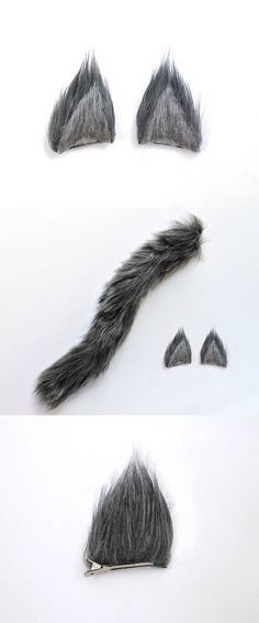 Ensemble de Costume loup gris loup fait à la main oreilles | Etsy