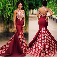 2017 New Arabic High Neck Satin Mermaid Evening Dresses Lace Applique Floor Length Formal … – African Fashion Dresses - African Styles for Ladies African Prom Dresses, African Wedding Dress, African Fashion Dresses, Pageant Dresses, Ghanaian Fashion, Ankara Fashion, Long Dresses, Ghana Wedding Dress, Short Gowns