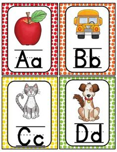 Alphabet Word Wall Cards & ABC Chart Alphabet Wall Cards, Alphabet Words, Alphabet Pictures, Alphabet Charts, Preschool Learning Activities, Letter Activities, Preschool Themes, Abc Chart, Word Wall Headers