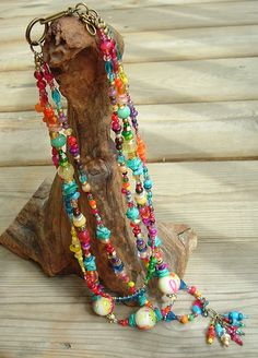 Bohemian Art Necklace Colorful Necklace Urban Gypsy by BohoStyleMe