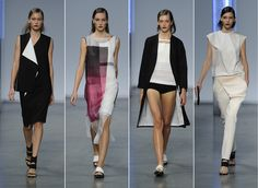 Designer Helmut Lang opted for a more minimalistic approach of retro trends with his spring 2014 collection.