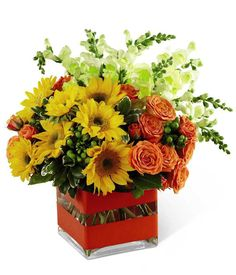 """Say """"Happy Birthday"""" with the Happy Bouquet from GrowerDirect.com! The cheerful sunflowers and orange roses will bring definitely bring joy to her special day! #birthdays"""