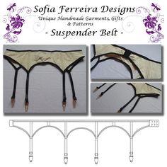 Basic Suspender Belt Pattern by SofiaFerreiraDesigns on Etsy Lingerie Patterns, Sewing Lingerie, Fashion Sewing, Diy Fashion, Sewing Crafts, Sewing Projects, Diy Bra, Vintage Underwear, Bra Pattern