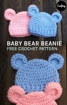 """Bear"""" Simple baby beanie This adorable, newborn baby bear beanie is incredibly easy pattern, only simple crochet skills are required.This adorable, newborn baby bear beanie is incredibly easy pattern, only simple crochet skills are required. Crochet For Kids, Free Crochet, Knit Crochet, Simple Crochet, Simple Knitting, Crochet Baby Hats Free Pattern, Free Knitting, Free Easy Crochet Patterns, Baby Knitting Patterns Free Newborn"""
