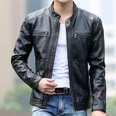 Cheap coat men, Buy Quality coats coats directly from China coat casual Suppliers: Men's leather Jacket design stand collar Coat Men casual motorcycle leather coat Mens Sheepskin jackets Windbreaker Coats Short Leather Jacket, Leather Men, Leather Jackets, Suede Jacket, Vintage Leather, Real Leather, Mens Slim Shorts, Moda Formal, Mode Man