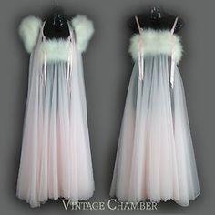 Vtg INTIME Marabou Feathers Sheer Pink Chiffon Negligee Peignoir Robe Gown Set | eBay