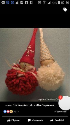 Christmas Decorations set of 4 hand embroidered (free P) - Christmas DIY Christmas Projects, Felt Crafts, Holiday Crafts, Christmas Ideas, Handmade Ornaments, Diy Christmas Ornaments, Felt Christmas, Homemade Christmas, Crochet Christmas