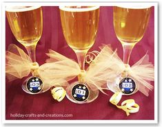 "New Years Party Ideas:   Countdown Glass Charms... These countdown to New Years charms are a great way for your guests to keep track of which glass is theirs. And when it's time to countdown the final seconds to the new year, each guest can cheer out ""their second"" in the countdown as they raise their glass for the New Year. They are easy to make since there is a template provided."