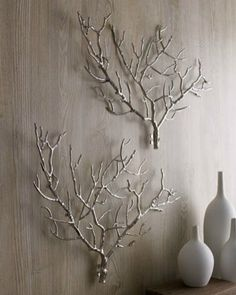 large metal sculptures either branches or coral like in Horchow for the dining room