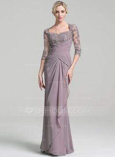 Trumpet/Mermaid Sweetheart Floor-Length Ruffle Cascading Ruffles Zipper Up Sleeves 3/4 Sleeves No Other Colors General Plus Chiffon Mother of the Bride Dress