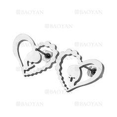 aretes de corazon con santa maria plateado acero -SSEGG954534