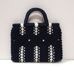 Navy Macrame Bag Hand Knotted Purse Macrame by plattermatter, $52.00