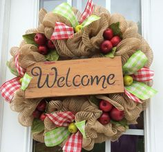 This is a beautiful combination of deco mesh burlap surrounded by wide red and green gingham burlap ribbon. Adorn with brightly colored red
