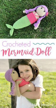"""Free crochet pattern for a cute mermaid doll. Measures about 18"""" tall."""