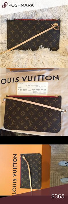 NEW 2017 Authentic Louis Vuitton Neverfull Clutch 100% authentic guaranteed, it purchased in March of this year. Brand new 2017 Limited Edition Louis Vuitton Neverfull MM GM size Pochette. Never ever used or even taken out of the box. 100% authentic!! Dimensions are 10 x 6. If you don't want the strap I can do $300! Louis Vuitton Bags Clutches & Wristlets