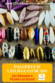 Czech Glass Dagger Leaf Beads 520 designs in stock! Sizes: 6/7/10/11/12/13/15/16/17/21mm - Buy now with discount! Hurry up - sold out very fast! www.CzechBeadsExclusive.com/+dagger SAVE them! #czechbeadsexclusive #czechbeadsdisc