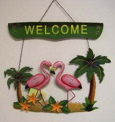 flamingo bedspreads comforters | Amazon.com: Pink Flamingo Palm Tree Welcome Wall Art Sign: Home ...