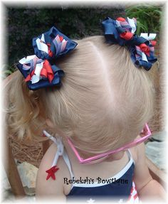 4th of July hair bows, patriotic hair bow, hair bows, pig tail bows, girls hair bows, girls hair clips, red white blue hair bows, hair clip by RebekahsBowtique on Etsy https://www.etsy.com/listing/101047499/4th-of-july-hair-bows-patriotic-hair-bow