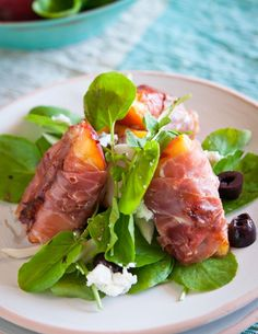 Grilled Peach Salad with Prosciutto and Goat Cheese