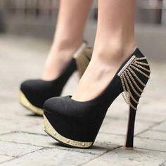Black Suede Round Closed Toe Stiletto Super High Fashion Basic Pumps #ShopSimple