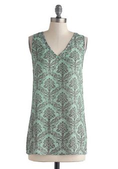 I own this. Glance of Glam Top. You love transforming casual-day outfits into something special by incorporating pieces such as this filigree-printed top into your ensemble. #mint #modcloth