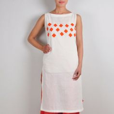 Sleeveless off white kurta Simple & comfortable wear for these harsh summers. This simple kurta has a boat style neck with orange square patches stitched on the bust to enhance the look of the garment. Pair it up with trousers or leggings. http://www.tadpolestore.com/ #white #sleeveless #kurta #patchwork #orange #hexagonal #summers #comfortable