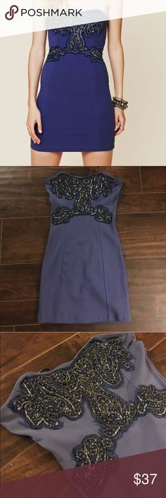 Blue beaded New Delhi tube dress free people XS Lovely beaded strapless dress. Worn once, perfect condition and beautiful in person and fitted. It's pretty small but perfect dress. Free people and xs Free People Dresses Strapless