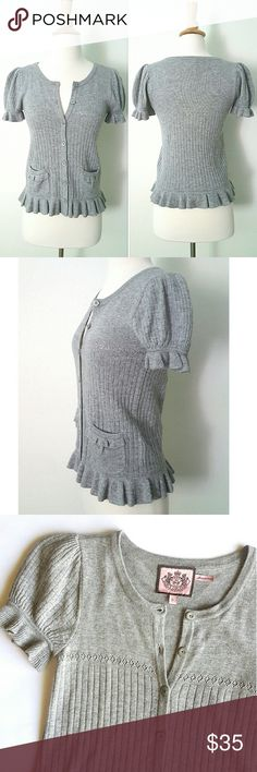 """Juicy Couture Cashmere Blend Sweater Girly and flirty short sleeve button front sweater with ruffle details. So warm and comfy.  13"""" shoulder to shoulder,  14.5"""" pit to pit,  22"""" long shoulder to bottom hem.  In excellent LIKE NEW condition. Juicy Couture Sweaters"""