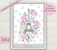 Eiffel Tower, Paris city digital poster | Romantic printable wall art home & nursery decor | Pink architectural print | Instant download by ArtsAndTravelPrints on Etsy https://www.etsy.com/listing/486715426/eiffel-tower-paris-city-digital-poster