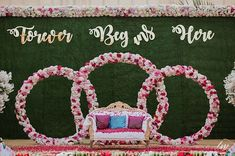 Photo of Stage decor with a botanical wall backdrop Engagement stage decor with botanical wall and floral installment Wedding Backdrop Design, Desi Wedding Decor, Wedding Stage Design, Wedding Hall Decorations, Backdrop Decorations, Flower Decorations, Balloon Decorations, Birthday Decorations, Reception Stage Decor