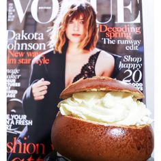 Vogue and huge cream bun.