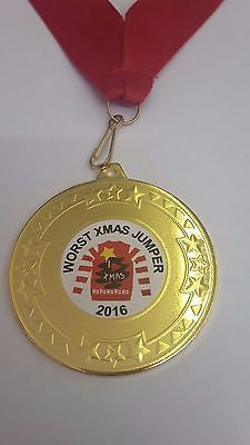 NAFF WORST CHRISTMAS JUMPER COMPETITION MEDAL TROPHY AWARD PERSONALISED FOR FREE