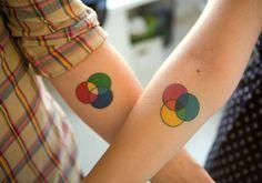 Venn diagram couples tattoos.  (as a design geek, I love this one!)