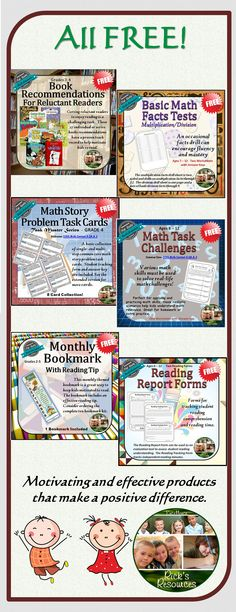 What's better than FREE!  These six products are all top rated and very effective for classroom use.  Great for grades 2-6.  Enjoy!  Check out my other high quality products as well.  Rick