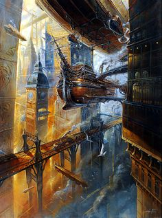 STEAMPUNK I'd hate to be the captain of this Steampunk Airship threading it's way through those narrow streets, not just a case of side to side but up and down as well.