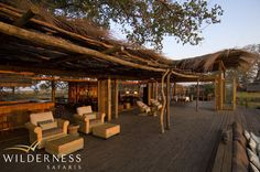 The dining and bar area is elevated so as to take in this vista and each morning's sunrise; dinner takes place either here or in the cosy boma where guests can also enjoy elements of local Zambian culture. #Safari #Africa #Zambia #WildernessSafaris