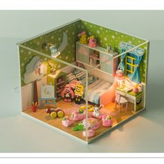 2016 Fashion Handmade DIY Wooden Doll House Toys for Children's Birthday Gift,Funny Miniature Dollhouse with Furniture