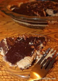 Low Carb Peanut Butter Chocolate Pie #AtkinsHolidayTaste / #lowcarb shared on https://facebook.com/lowcarbzen #sponsored