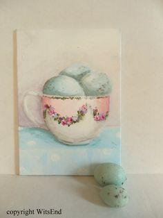 Teacup Eggs painting original ooak tea cup and blue door 4WitsEnd