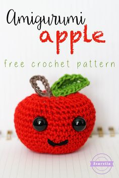 Back to school! Make this adorable apple amigurumi with 24/7 Cotton! Free pattern by Sewrella!