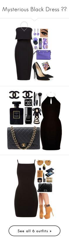 """Mysterious Black Dress ⚫️"" by gabbsz ❤ liked on Polyvore featuring Jimmy Choo, Fendi, Belk & Co., Miadora, Manic Panic NYC, Catwalk by TiGI, Swarovski, Casetify, Chanel and River Island"