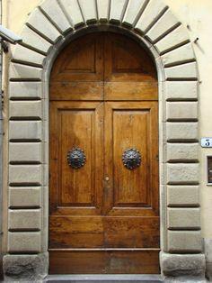 Decorative Iron Door Knockers, Wood Door, Picture of Door, #Italian-Door, #Florence #Italy