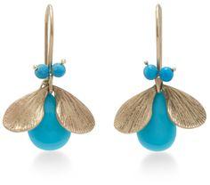 Annette Ferdinandsen 18K Gold Turquoise Bug Earrings